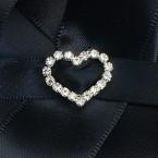 Small Diamante Heart Buckle Vertical Bar