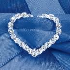 Large Diamante Heart Vertical Bar